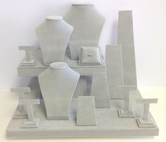 Light grey (Argent) Silsuede jewellery display